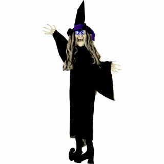 Haunted Hill Farm Haunted Hill Farm 3-ft Animatronic Floating Witch, Indoor/Outdoor Halloween Decoration, Blue LED Eyes, Poseable, Battery-Operated, HHMNWTC-6HLSA