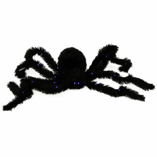 Haunted Hill Farm Haunted Hill Farm 5.92-ft Light Up Spider, Indoor/Outdoor Halloween Decoration, Poseable, Battery-Operated, Darth, HHPSD-7FS