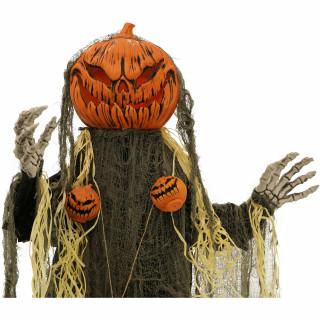 Haunted Hill Farm Haunted Hill Farm 5.33-ft Animatronic Pumpkin Man, Indoor/Outdoor Halloween Decor, Green LED Face, Poseable, Battery-Operated, Chad, HHPUMP-6FLS