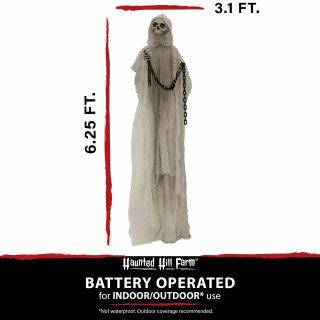 Haunted Hill Farm Haunted Hill Farm 6.25-ft Animated Reaper, Indoor/Covered Outdoor Halloween Decoration, LED Red Eyes, Poseable, Battery-Operated, Hallow, HHRPR-10FLSA
