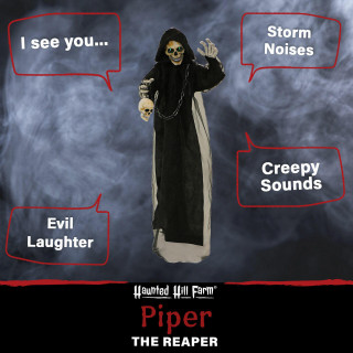 Haunted Hill Farm Haunted Hill Farm 5.2-ft Standing Reaper, Indoor/Covered Outdoor Halloween Decoration, LED Green Eyes, Poseable, Battery-Operated, Piper, HHRPR-12FLS