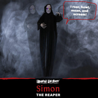 Haunted Hill Farm Haunted Hill Farm 6.3-ft Standing Reaper, Indoor/Covered Outdoor Halloween Decoration, LED Multi Eyes, Poseable, Battery-Operated, Simon, HHRPR-7FLS