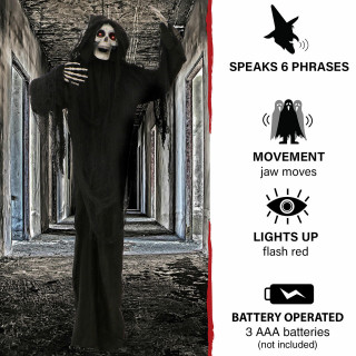 Haunted Hill Farm Haunted Hill Farm 5.63-Ft Animated Standing Reaper, Indoor/Covered Outdoor Halloween Decoration, LED Eyes, Poseable, Battery-Operated, Terror, HHRPR-8FLSA