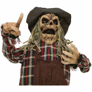 Haunted Hill Farm Haunted Hill Farm 5.4-ft Animated Scarecrow, Indoor/Covered Outdoor Halloween Decoration, Multi LED, Poseable, Battery-Operated, Rodney, HHSCR-6FLSA