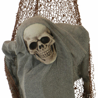 Haunted Hill Farm Haunted Hill Farm 3.2-ft Skeleton in Hammock, Indoor/Covered Outdoor Halloween Decoration, Poseable, Battery Operated, Sleepless, HHSNSKEL-HLSA