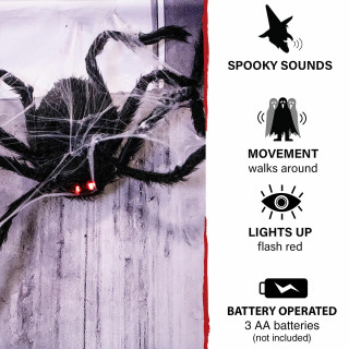 Haunted Hill Farm Haunted Hill Farm 2.5-ft Spider with Web, Indoor/Covered Outdoor Halloween Decoration, LED Red Eyes, Poseable, Battery-Operated, Cobweb, HHSPD-12FLSA