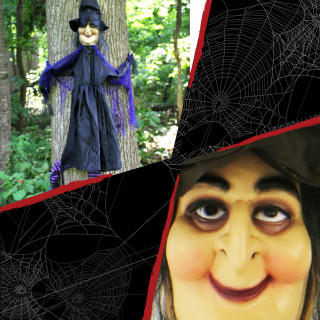 Haunted Hill Farm Haunted Hill Farm 4.58-ft Hanging Witch, Black and Purple Stockings, Indoor/Covered Outdoor Halloween Decoration, HHTTWTC-2