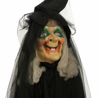Haunted Hill Farm Haunted Hill Farm 6.5 ft Witch on Broom, Indoor/Covered Outdoor Halloween Decoration, LED Red Eyes, Battery-Operated, Misty, HHWITCH-24HLS