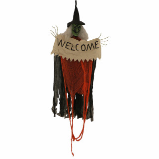 Haunted Hill Farm Haunted Hill Farm 6.25-ft Hanging Witch w/Sign, Indoor/Covered Outdoor Halloween Decoration, LED Eyes, Poseable, Battery-Operated, HHWITCH-28HLS