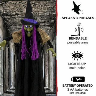 Haunted Hill Farm Haunted Hill Farm 5.75-ft Hanging Witch, Indoor/Covered Outdoor Halloween Decoration, Multi LED Eyes, Poseable, Battery-Operated, Marge, HHWITCH-30HLS