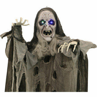 Haunted Hill Farm Haunted Hill Farm 6-ft Hanging Witch, Indoor/Covered Outdoor Halloween Decoration, Multi LED Eyes, Poseable, Battery-Operated, Wicked Weaver, HHWITCH-31FLS