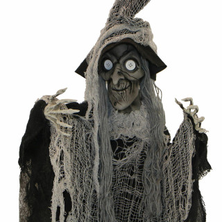 Haunted Hill Farm Haunted Hill Farm 5.2-ft Hanging Witch with Button Eyes, Indoor/Covered Outdoor Halloween Decoration, Poseable, Luna, HHWITCH-35H