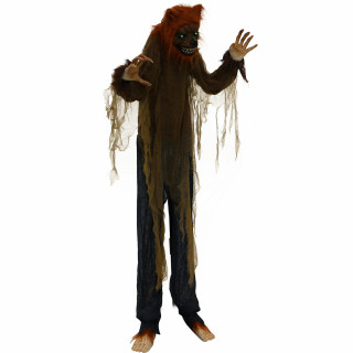 Haunted Hill Farm Haunted Hill Farm 5.2-ft Standing Wolf, Indoor/Covered Outdoor Halloween Decoration, LED Green Eyes, Poseable, Battery-Operated, Howler, HHWOLF-3FLSA