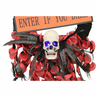 Haunted Hill Farm Haunted Hill Farm 2.25-ft Wreath with Skull and Enter If You Dare Sign, Battery Operated, Indoor/Covered Outdoor Halloween Decoration, HHWTHSKL-1S