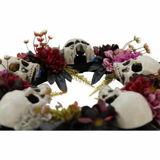 Haunted Hill Farm Haunted Hill Farm 1.8-ft Halloween Dark Multi-Color Wreath with Skulls, Indoor/Covered Outdoor Halloween Decoration, HHWTHSKL-2