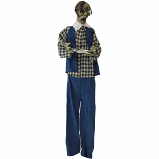 Haunted Hill Farm Haunted Hill Farm 6.25-ft Zombie Waiter, Indoor/Covered Outdoor Halloween Decoration, LED Purple Eyes, Poseable, Battery-Operated, Timmy, HHWTR-1FLSA