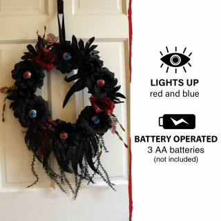 Haunted Hill Farm Haunted Hill Farm 1.9-ft Halloween Wreath with Light-Up Eyeballs, Indoor/Covered Outdoor Halloween Decoration, LED, Battery-Operated, HHWTHEYE-1S