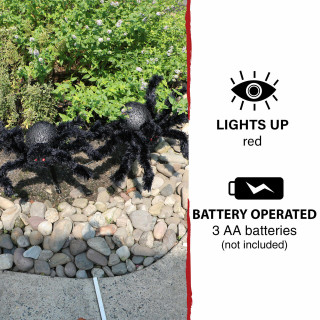Haunted Hill Farm Haunted Hill Farm Three 2-ft Light-Up Spider Stakes, Indoor/Covered Outdoor Halloween Decoration, LED Red Bodies, Battery-Operated, HHSPD-1STLLS