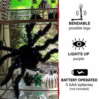 Haunted Hill Farm Haunted Hill Farm 2.25-ft Light-Up Spider, Indoor/Covered Outdoor Halloween Decoration, LED Purple Eyes, Poseable, Battery-Operated, Scorpio, HHSPD-13FLS