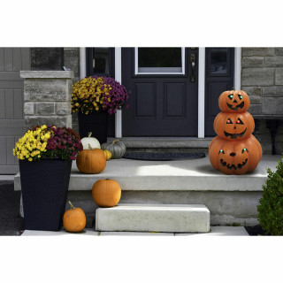 Haunted Hill Farm Haunted Hill Farm 20-in Battery Operated 3-Stack Jack O Lantern Halloween Decoration with LED Lights, HHRS020-1PMP-ORG