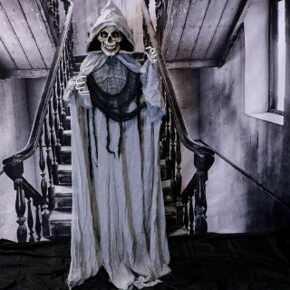 Haunted Hill Farm Haunted Hill Farm 5.33-ft Standing Reaper, Indoor/Covered Outdoor Halloween Decoration, LED Multi Eyes, Poseable, Battery-Operated, Nightmare, HHRPR-9FLS