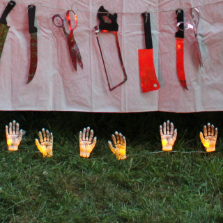 Haunted Hill Farm Haunted Hill Farm 7-In Light Up Staked Hands, Outdoor Halloween Decoration, Yellow LED Glow, Battery Operated, HHHAND-1STKL