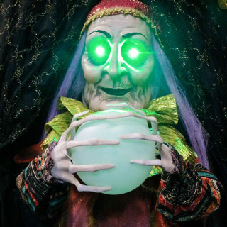 Haunted Hill Farm Haunted Hill Farm 6 ft Witch, LED Green Eyes Multi Ball, Indoor/Covered Outdoor Halloween Decor, Poseable, Battery-Operated, Tarot, HHFTWTC-2HLS
