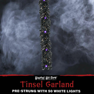 Haunted Hill Farm Haunted Hill Farm 6-Ft Spooky Black Tinsel Garland with Warm White LED Lights and Purple Ornaments , HH072TINGL-5BL