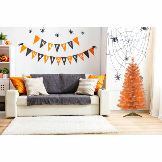 Haunted Hill Farm Haunted Hill Farm 4-Ft Spooky Orange Tinsel Tree with Warm White LED Lights and a Gold Base, HH048TINTR-5ORN