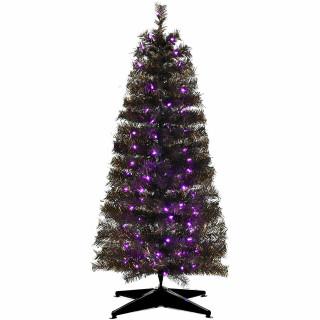 Haunted Hill Farm Haunted Hill Farm 4-Ft Spooky Black Tinsel Tree, Purple LED Lights, HH048TINTR-5BL3
