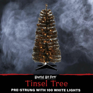 Haunted Hill Farm Haunted Hill Farm 4-Ft Spooky Black Tinsel Tree, Warm White LED Lights, HH048TINTR-5BL1