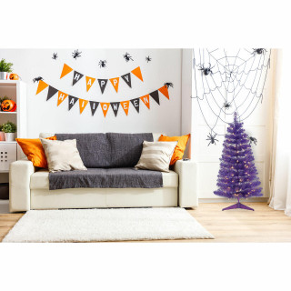 Haunted Hill Farm Haunted Hill Farm 3-Ft Spooky Purple Tinsel Tree with Warm White LED Lights and a Purple Base, HH036TINTR-5PUR