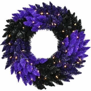 Haunted Hill Farm Haunted Hill Farm 24-In Spooky Black and Purple Tinsel Wreath with Warm White LED Lights, HH024TINWR-5MLT