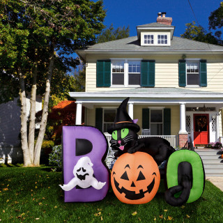 Haunted Hill Farm Haunted Hill Farm 5-Ft Inflatable Pre-Lit Boo Sign with Black Cat, Jack-O-Lantern, and Ghost, HIBOOSGN051-L