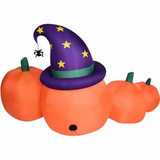 Haunted Hill Farm Haunted Hill Farm 7-Ft Inflatable Pre-Lit Pumpkin Jack-O-Lantern Family, HIPMPKNFM071-L