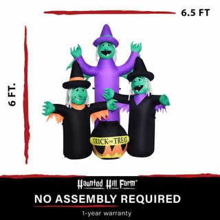 Haunted Hill Farm Haunted Hill Farm 6-Ft Inflatable Pre-Lit Brewing Witch Trio with Cauldron, HIWITCHTRIO061-L
