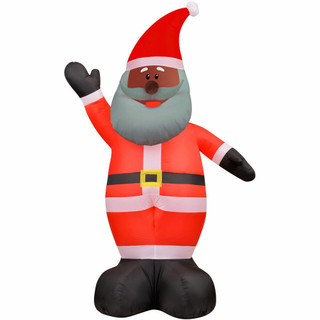 Fraser Hill Farm Fraser Hill Farm 12-Ft Tall African American Santa Claus, Outdoor Blow-Up Christmas Inflatable with Lights and Storage Bag, FHFAASANTA121-L