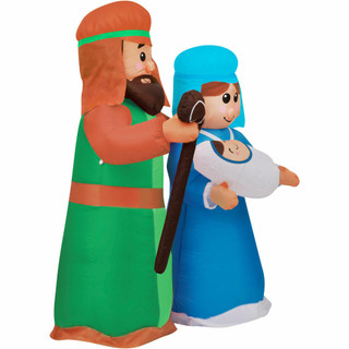 Fraser Hill Farm Fraser Hill Farm 6-Ft Pre-Lit Holy Family - Baby Jesus, Mary, and Joseph, Outdoor Blow-Up Christmas Inflatable with Lights and Storage Bag, FHFJMJESUS061-L