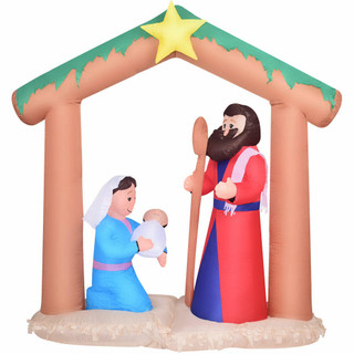 Fraser Hill Farm Fraser Hill Farm 7-Ft Wide Pre-Lit Nativity w/ Mary, Joseph, and Baby Jesus, Blow-Up Christmas Inflatable w/ Lights and Storage Bag, FHFNVTY072-L