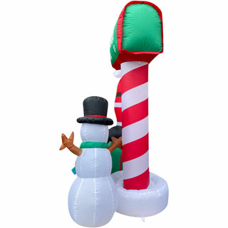 Fraser Hill Farm Fraser Hill Farm 6-Ft Tall Welcome Mailbox with Santa, Snowman, and Penguin, Outdoor Blow-Up Christmas Inflatable with Lights and Storage Bag, FHFSASNPGN061-L