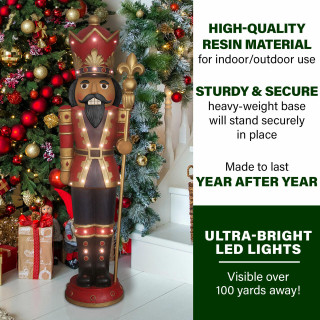 Fraser Hill Farm Fraser Hill Farm 5-Ft Indoor/Outdoor Musical African American Nutcracker Statue with LED Lights and Timer, FFRS060-3NC-RDAA