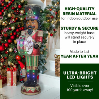 Fraser Hill Farm Fraser Hill Farm 6-Ft African American Christmas Nutcracker Playing Bass Drum w/ Moving Hands, Music, Timer, and 32 LED Lights, FFRS072-NC5-RDAA