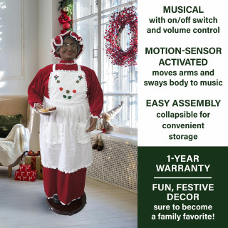 Fraser Hill Farm Fraser Hill Farm 58-In Dancing African American Mrs Claus with Apron and Cookies, Life-Size Christmas Holiday Indoor Home Decor, FMC058-2RD2-AA