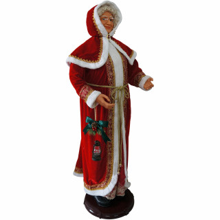 Fraser Hill Farm Fraser Hill Farm 58-In Dancing Mrs Claus with Hooded Cloak and Faux Lantern, Life-Size Christmas Holiday Indoor Home Decorations, FMC058-2RD5