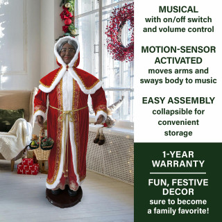 Christmas Time Fraser Hill Farm 58-In Dancing African American Mrs Claus with Hooded Cloak and Basket, Life-Size Christmas Holiday Indoor Home Decorations, FMC058D-2RD1-AA