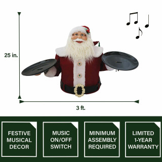 Fraser Hill Farm Fraser Hill Farm 3-Ft Wide Musical Santa Claus with 2 Serving Plates - Christmas Holiday Indoor Decoration, FSC036-1RD2