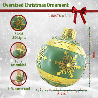 Christmas Time Christmas Time 18-In Resin Oversized Christmas Ornament w/ Snowflake Pattern and LED Lights, Indoor or Covered Outdoor Holiday Decor, Green, CT-RS018OR1-GN