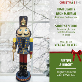 Christmas Time Christmas Time 3-Ft Nutcracker Toy Soldier Holding a Staff, Resin Figurine w/ LED Lights, Indoor or Covered Outdoor Christmas Decor, Blue, CT-RS036NC1-BL