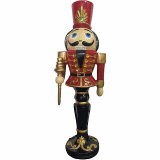Christmas Time Christmas Time 3-Ft Nutcracker Toy Soldier Holding a Staff, Resin Figurine w/ LED Lights, Indoor or Covered Outdoor Christmas Decor, Red, CT-RS036NC1-RD1