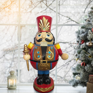 Christmas Time Christmas Time 3-Ft Roly-Poly Nutcracker Toy Soldier, Resin Figurine w/ LED Lights, Indoor or Covered Outdoor Christmas Decor, Red, CT-RS036NC1-RD2